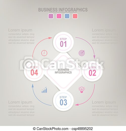 Pastel-connect-circle. Infographic template four steps on squares ...