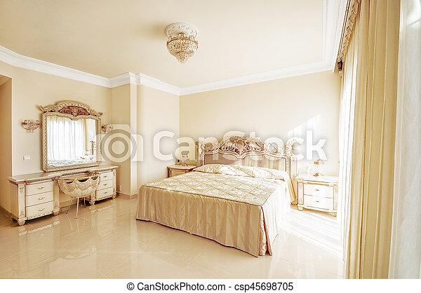 Pastel, Couleurs, Lit, Luxueux, Grand, Neoclassical, Floors., Chambre À  Coucher, Assaisonnement,