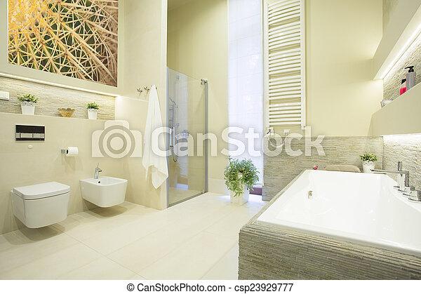 Pastel, cuarto de baño, colores, lujo. Pastel, cuarto de... imagen ...
