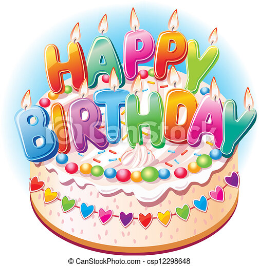 pastel, cumpleaños - csp12298648