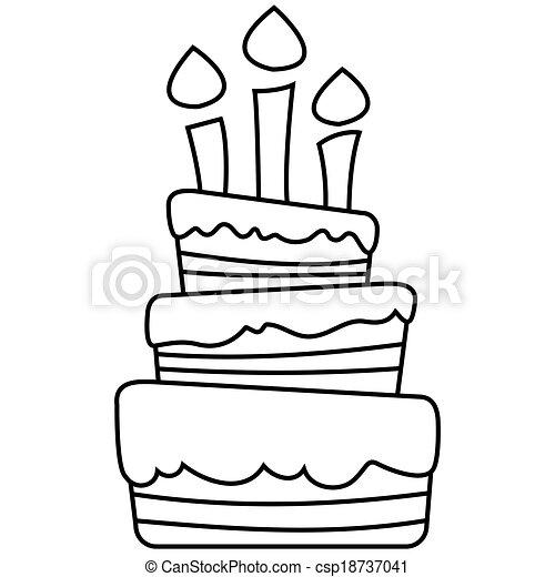 Pastel, cumpleaños, ilustración, vector. Contorneado, blanco, negro ...