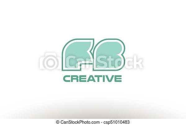 Pastel Green Alphabet Letter Fb F B Combination Joint Logo Comany