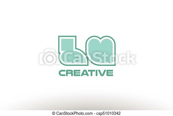 Pastel Green Alphabet Letter Lu L U Combination Joint Logo Comany