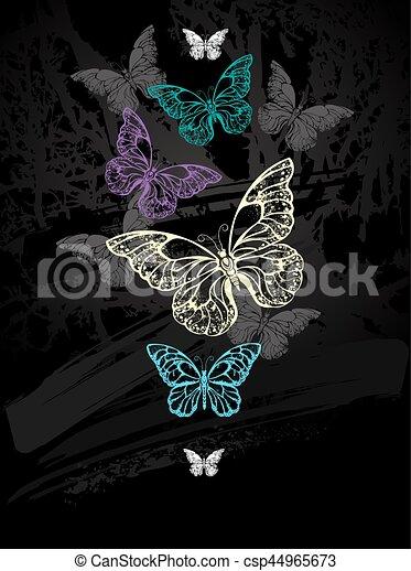 Flock de mariposas pastel - csp44965673