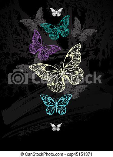 Flock de mariposas pastel - csp45151371