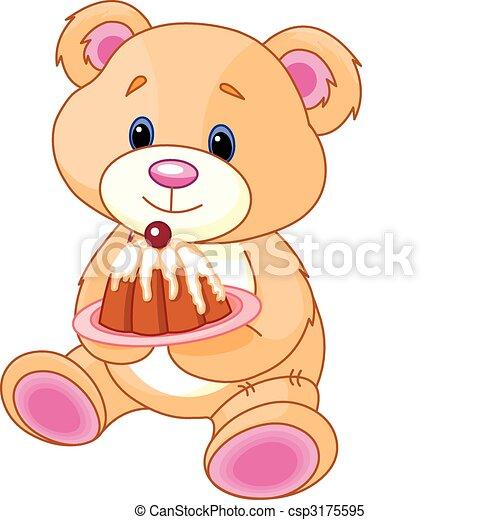 Osito de peluche con pastel - csp3175595