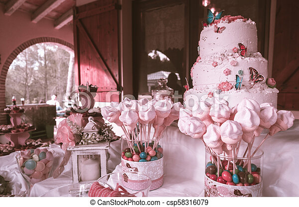 Pastel Pink Birthday Cake With Lots Of Candies