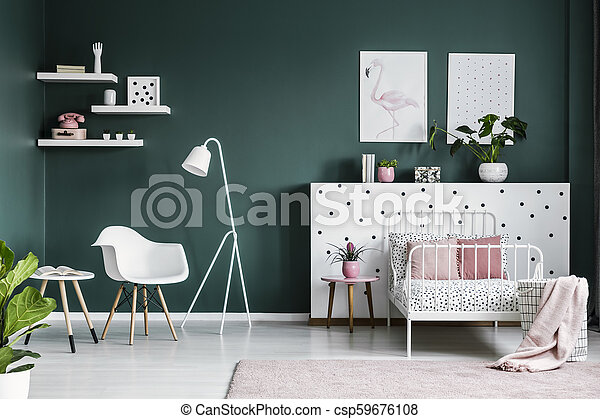 Pastel Pink Decorations In A Scandi Bedroom Interior For A Teenage Girl With Modern White Furniture And Dark Green Walls