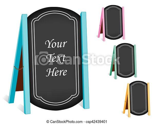 Signos, pizarra doblando caballetes, marcos pastel - csp42439401