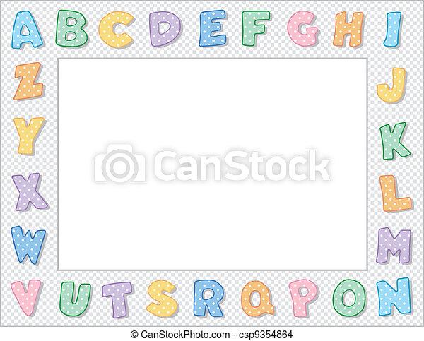 Pastel polka dot alphabet frame. Multicolor pastel polka dot... eps ...