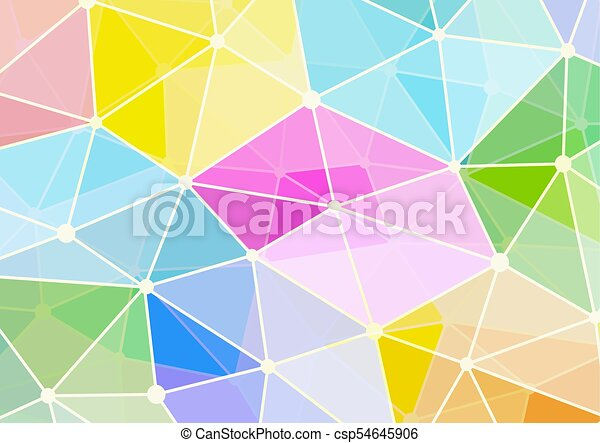 Pastel polygon shape with connecting dots and lines background