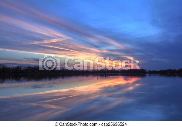 Pastel River Sunrise - csp25636524
