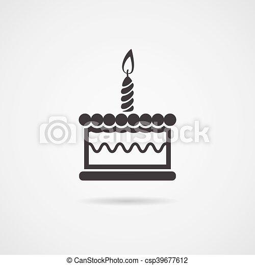 Vector icono de tarta de cumpleaños - csp39677612