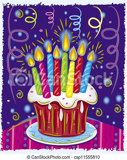 Pastel de cumpleaños con velas - csp11555810