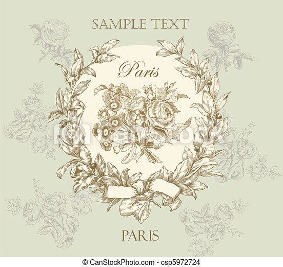 pastel, verstand, roos, etiket, gematigd, vector - csp5972724