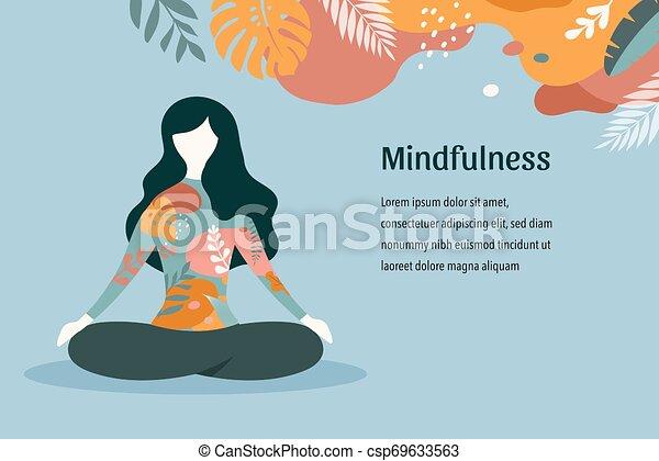 pastel, yoga, siddende, vinhøst, -, illustration, farver, vektor, kryds, baggrund, meditating., mindfulness, meditation, ben, kvinder - csp69633563