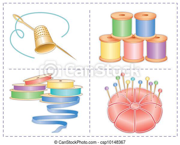 Cosiendo accesorios, pasteles - csp10148367