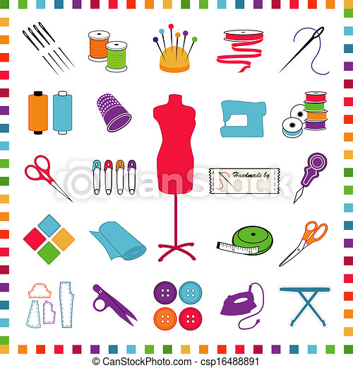Cosiendo y haciendo iconos, pasteles - csp16488891