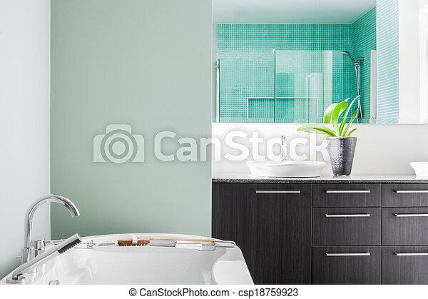 pastell, badezimmer, modern, farben, grün, gebrauchend, weich - csp18759923