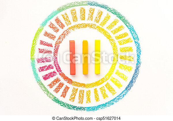 pastello, cima colorita, disegnato, cerchio, gessi, vista - csp51627014