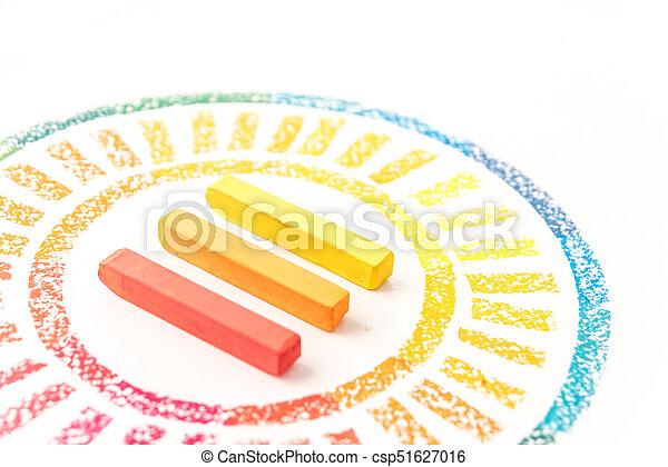 pastello, colorito, foto, gessi, raccolto, disegnato, cerchio - csp51627016