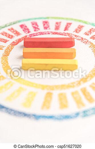 pastello, colorito, foto, gessi, tre, raccolto, mezzo, disegnato, cerchio - csp51627020