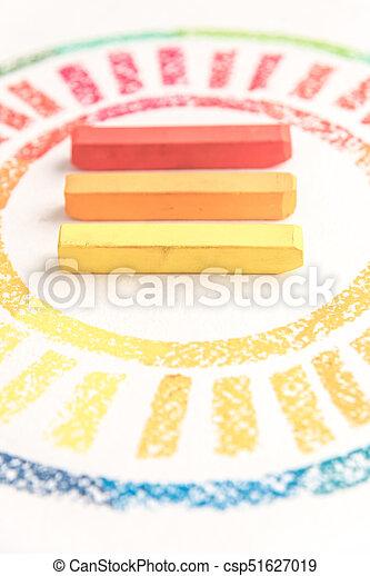 pastello, colorito, foto, gessi, tre, raccolto, mezzo, disegnato, cerchio - csp51627019