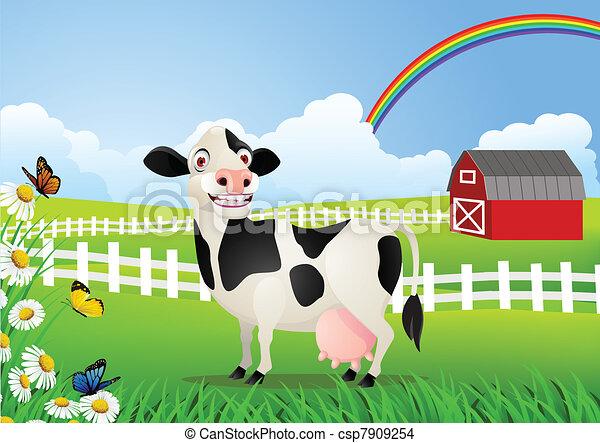 pasto, caricatura, vaca - csp7909254