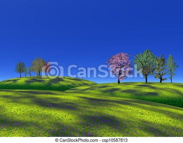 pasto o césped, colinas, árboles - csp10587813