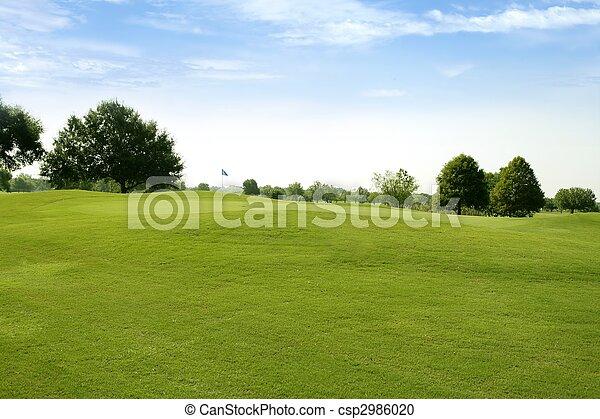 pasto o césped, golf, campos, verde, beautigul, deporte - csp2986020
