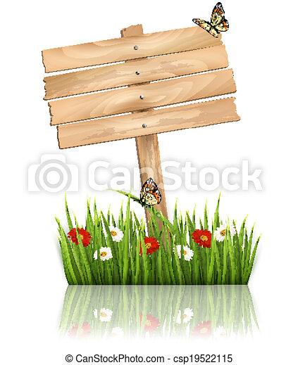 Antecedentes naturales con hierba verde y flores y signo de madera Vector. - csp19522115