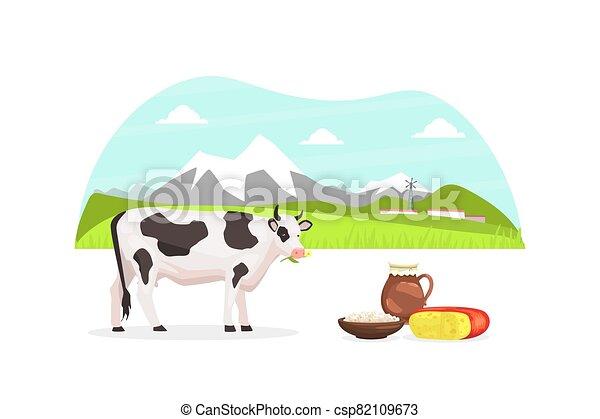 pasto, productos, paisaje, ilustración, vaca, vector, rural, agrícola, sano, fresco, eco, verano, montaña - csp82109673