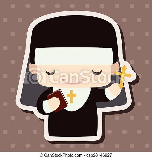 pastor and nun theme elements - csp28146927
