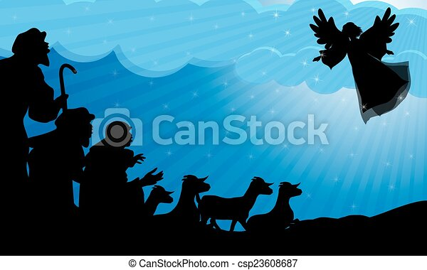 pastores, silueta, ángel - csp23608687