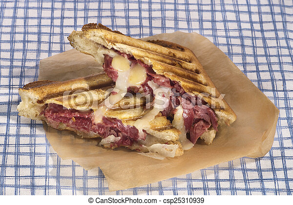 Pastrami sandwich grilled with chedar and manchego cheese - csp25310939