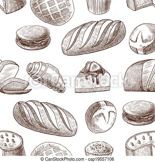 Pastry seamless pattern - csp19557106