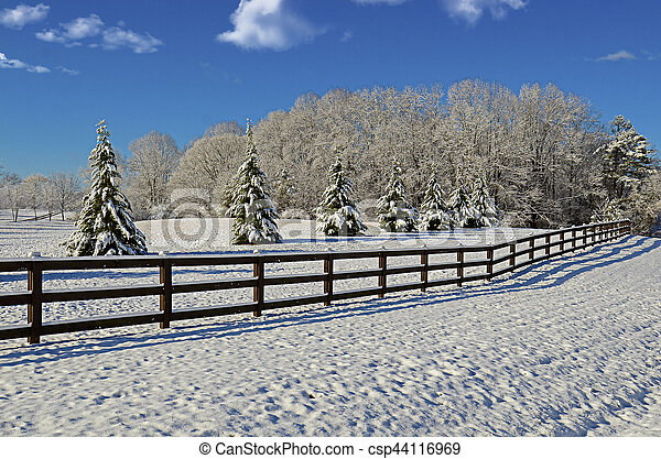 Pasture in the Winter Snow - csp44116969