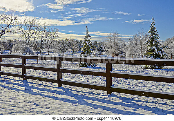 Pasture Land in the Snow - csp44116976