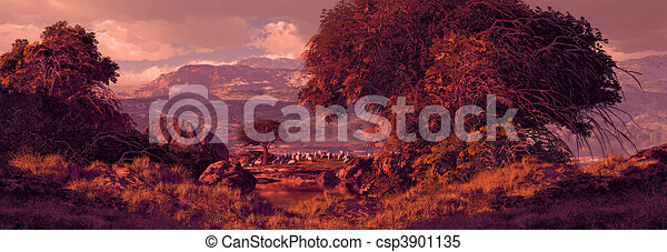 Pastureland With Sheep Grazing - csp3901135