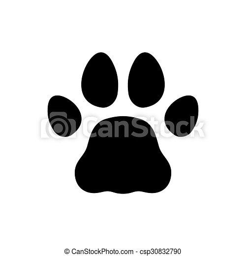 El icono de huellas negras de Paw en antecedentes blancos. Vector - csp30832790