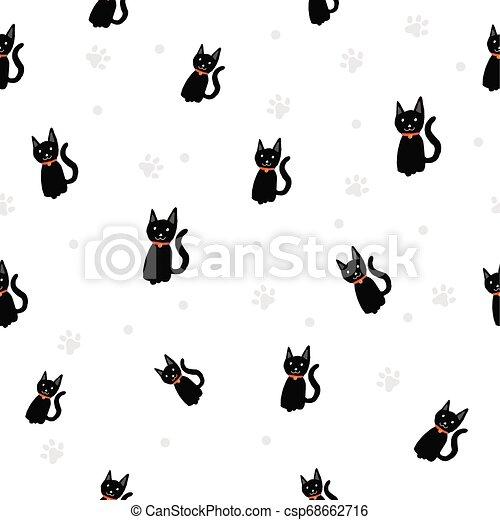 Gato negro / Empuña impresión sin fondo. - csp68662716
