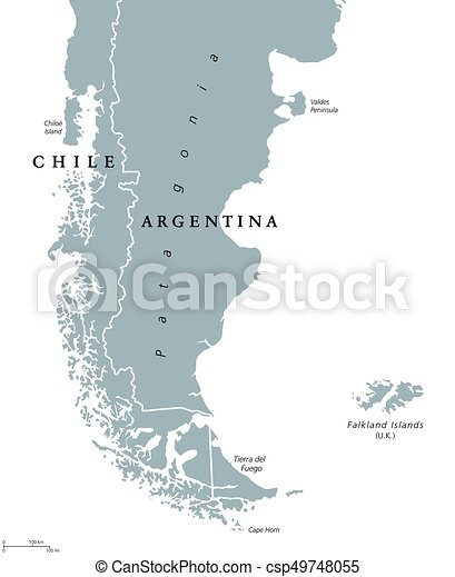 Patagonia And Falkland Islands Political Map Patagonia Political