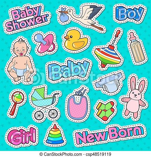 rabattkod rabatt försäljning ny lista Patches., nyfödd, klotter, toys, illustration, skur, dekoration ...