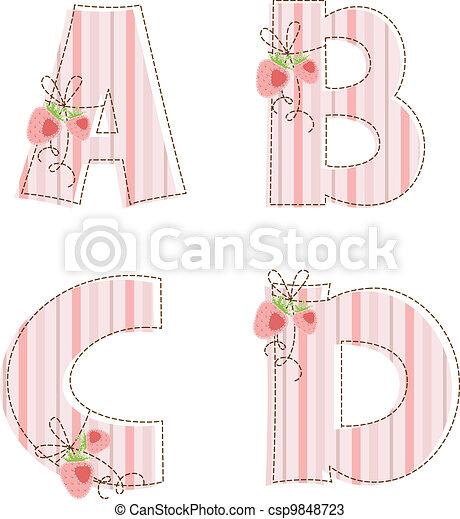 Patchwork alphabet. Letter A, B, C, D - csp9848723