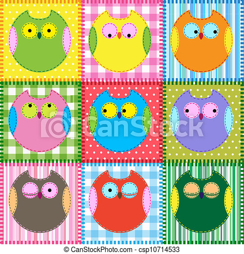Patchwork background with colorful owls - csp10714533