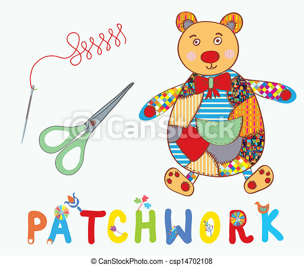 Patchwork background with teddy bear, needle and label cartoon - csp14702108