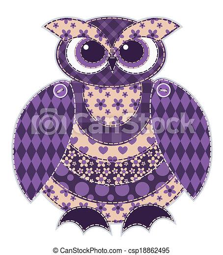 patchwork, coruja, isolado, vermelho - csp18862495
