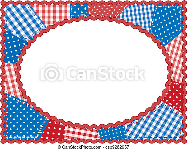 Patchwork Frame, Red, White, Blue - csp9282957