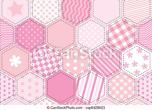 Patchwork quilt pink - csp6428623