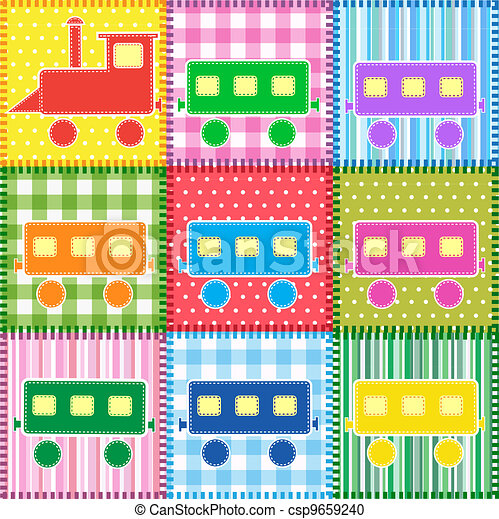 Patchwork with colorful train - csp9659240